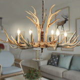 Antlers 6-Light Chandelier Ambient Light Resin Handmade Warm White - heparts