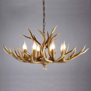 Antlers 8-Light Chandelier Ambient Light Resin Handmade Warm White