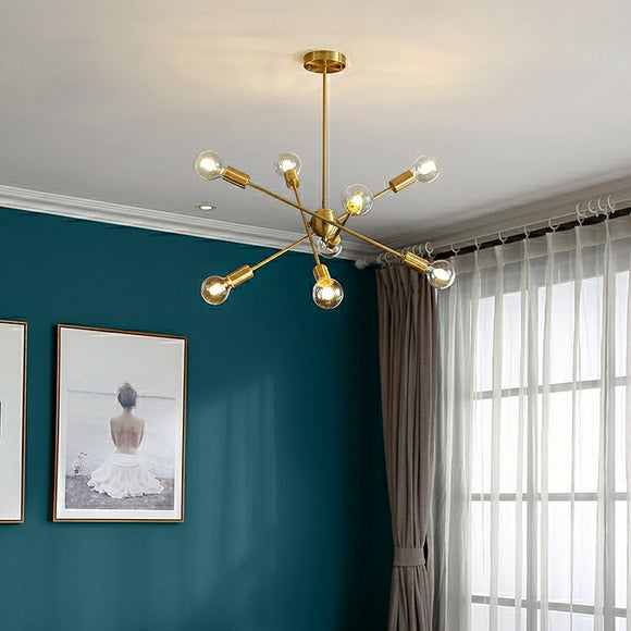 Atomic 4 Rotatable Arms INS Sputnik Starburst Raw Brass Modern Ceiling Light E26/E27