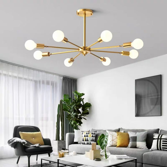 Atomic 6/8 Arms Adjustable Sputnik Raw Brass Modern Ceiling Light E26/E27