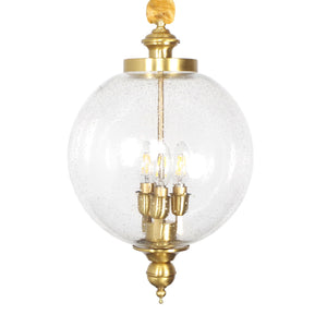 Brass Chandelier Clear Ball Glass Ambient Light 3-Light Living Room candle Style E12/E14 W300*H500 - heparts