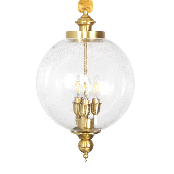 Brass Chandelier Clear Ball Glass Ambient Light 3-Light Living Room candle Style E12/E14 W300*H500