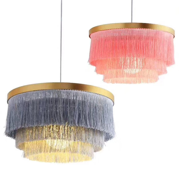 Instagram Cloth art D420mm Tassel lamp Pendant Light Luxury Chandelier E26/E27 LED simplicity - heparts