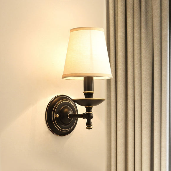 Cloth lampshade Solid Brass Sconce Wall Lights Vanity Lighting Mid Century Sconce Bedroom - heparts