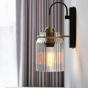 Corrugated Glass Metal Wall Lamps & Sconces Light Bedside Edison bulb E26/E27
