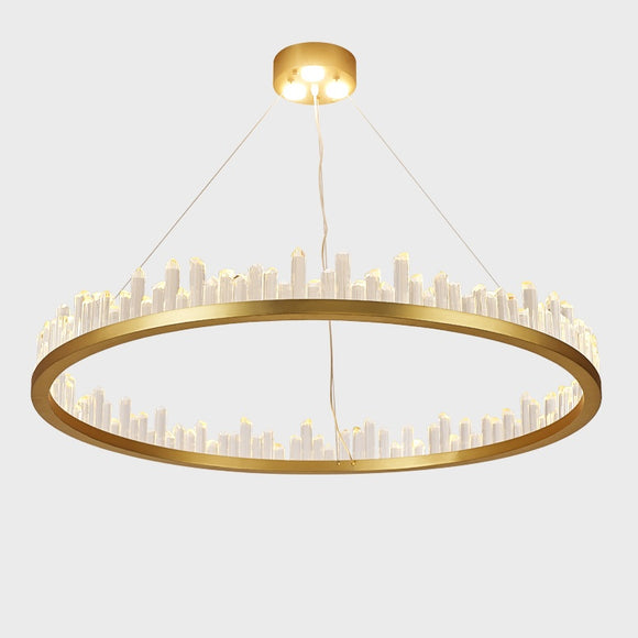 Crystal Circular Empiret Pendant Light Chandelier Ambient Light Painted Finishes Aluminum Crystal