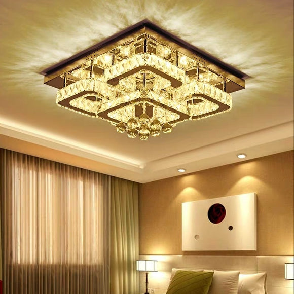 Crystal LED Flush Mount Ambient Light Electroplated Metal Dimmable Remote Control
