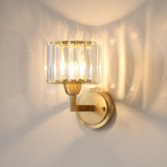 Crystal Solid Brass Sconce Wall Lights Vanity Lighting Mid Century Sconce Bedroom