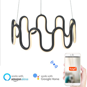 D40cm Bracelet Crown Circular Pendant Light Chandelier Lighting Ambient Light - LED Dimmable Remote Control - heparts