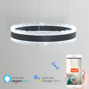 D40cm Crown Circular Pendant Light Chandelier Lighting Ambient Light - LED Dimmable Remote Control - heparts