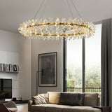 D60/100cm Ring Luxury Copper/Iron Crystal Chandelier Postmodern Living Room Pendant Light G4
