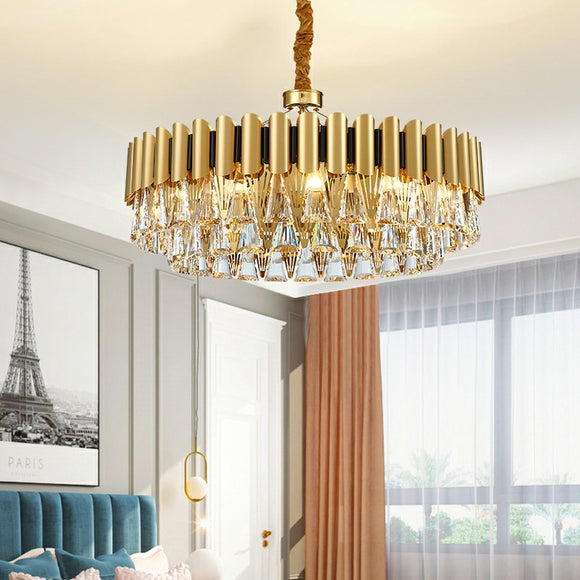 D60/80cm Luxury Iron Crystal Chandelier Postmodern Living Room Pendant Lighting E12/E14