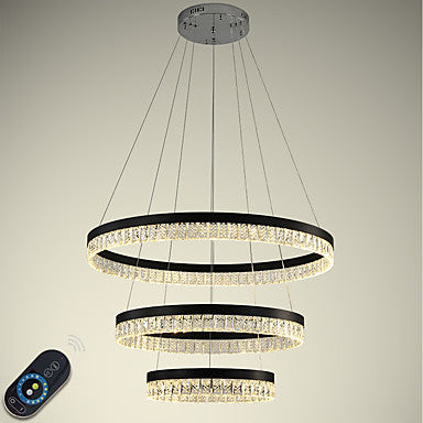 1-3 Lights Circular Crystal Chandelier Ambient Light Electroplated Painted Finishes Metal Crystal Adjustable Dimmable with Remote Control - heparts