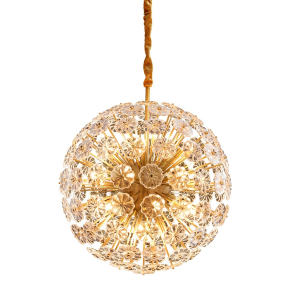 Dandelion Gypsophila Pure Copper Crystal Chandelier Pendant Lighting Living Room G9