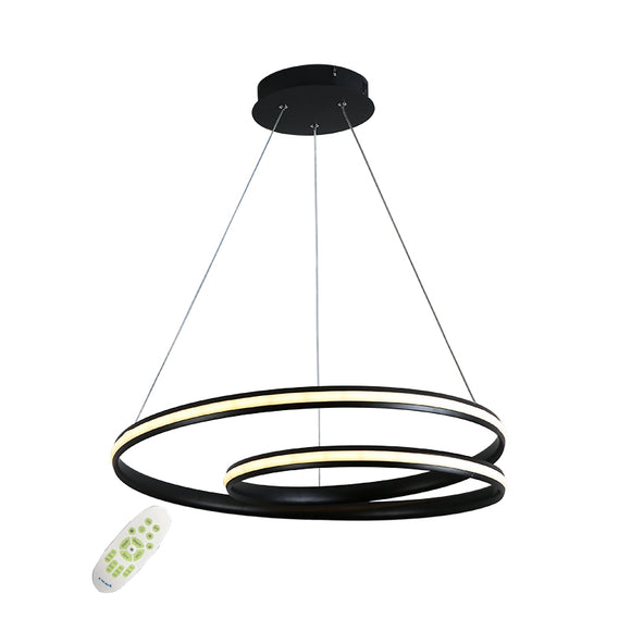 Dimmable 22'' Wide Twist Modern LED Pendant Chandelier in WhiteBlackChocolate