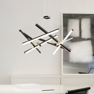 Dimmable 8 LEDs Sputnik Chandelier Aluminum Frame Black Painted Living Room Bedroom Coffee Bar