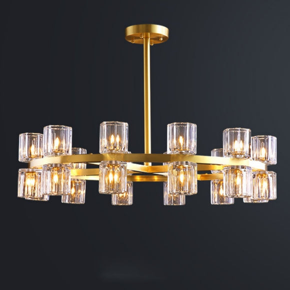 Double Ring Pure Brass Crystal Chandelier Pendant Lighting Living Room G4