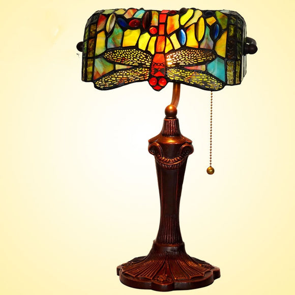 Dragonfly Tiffany Table Lamps Vintage Stained Glass -Home Decor D10H14 Inch - heparts