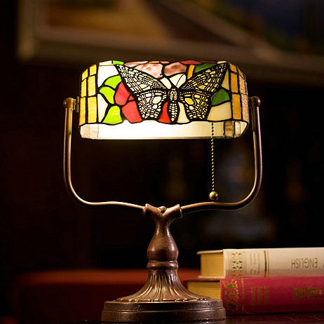 Dragonfly Tiffany Table Lamps Vintage Stained Glass -Home Decor D10H14 Inch