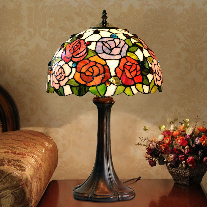 Flowers Tiffany Table Lamps Vintage Stained Glass Home Decor D12h19 Inch