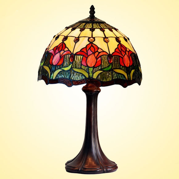 Flowers Tiffany Table Lamps Vintage Stained Glass -Home Decor D12H19 Inch