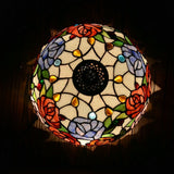 Flowers Tiffany Table Lamps Vintage Stained Glass -Home Decor D12H19 Inch - heparts