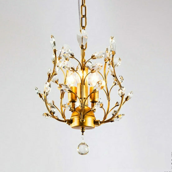 Classic Crystal Pendant Light Retro Chandelier Living Bed Dining Room Retro Lamp
