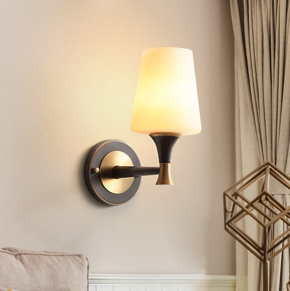 Glass Solid Brass Sconce Wall Lights Vanity Lighting Mid Century Sconce Bedroom - heparts