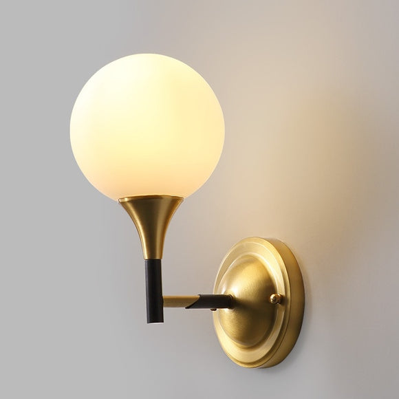 Glass ball Solid Brass Sconce Wall Lights Bathroom Lights Vanity Lighting Mid Century Sconce - heparts