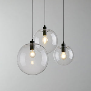 Globe Chandelier Lighting Fixture Clear Glass Bubble Clustered Pendant Lights Modern Lighting - heparts