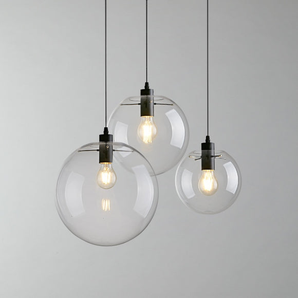 Globe Chandelier Lighting Fixture Clear Glass Bubble Clustered Pendant Lights Modern Lighting