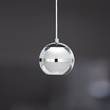 Globe Pendant Light Ambient Light Chrome Metal Acrylic LED