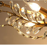 Golden Jade Leaves Classic 3-Lights UP Crystal Retro Chandelier Living Bed Dining Room Retro Lamp