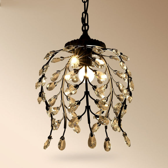 Golden Jade Leaves Classic Crystal Pendant Light Retro Chandelier Living Bed Dining Room Retro Lamp