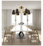 Modern Chandelier Lights 6 8 Lights Black or White Shades with Swaying Arms Led Chandeliers Lamp for Foyer Retro Loft Light - heparts