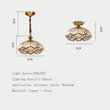 Copper Ceiling Lights Simple Bedroom Lamp Balcony Kitchen Glass Shade Ceiling Lamp Hallway Entrance Gold Ceiling Lamp - heparts