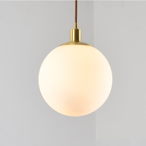 Globe Glass Pendant Light Ambient Light Electroplated Brass Metal Glass Anti-Glare LED