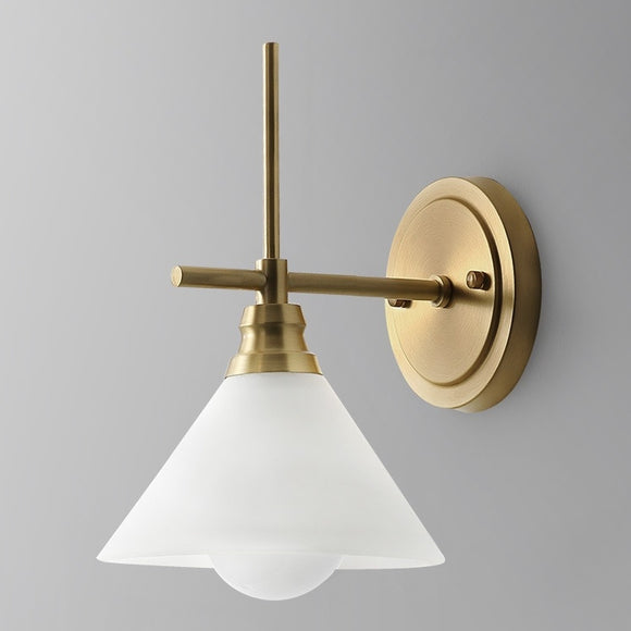 Glass Solid Brass Sconce Wall Lights Bathroom Lights Vanity Lighting Mid Century Sconce - heparts