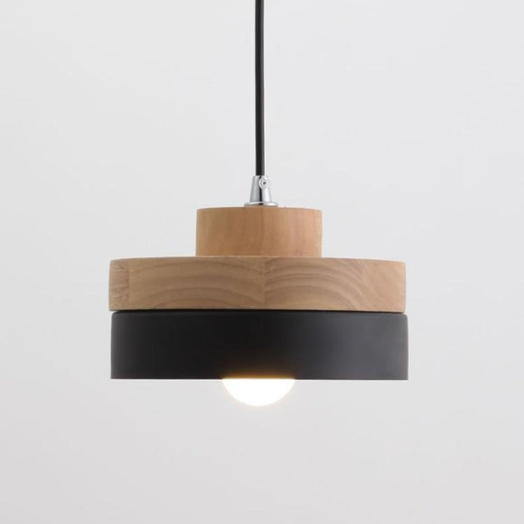 Cylinder Modern Wood Pendant Light Northern Europe Simplicity Metal Shade