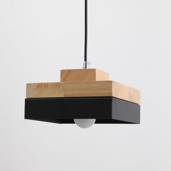 Square Modern Wood Pendant Light Northern Europe Simplicity Metal Shade