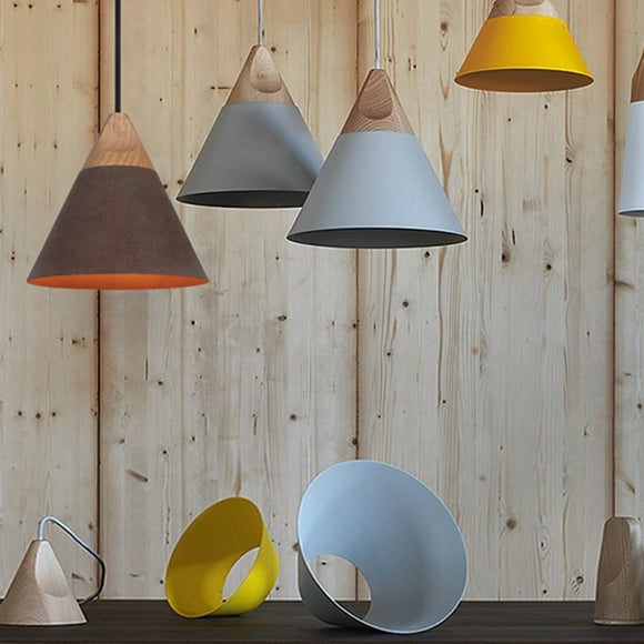 Cone Pendant Light Ambient Light Painted Finishes Aluminum LED