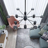 12-Lights Sputnik Chandelier Ambient Light Metal Globe Glass Candle Style LED - heparts