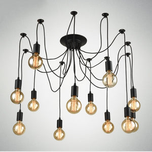 12-Lights Rustic Industrial Black Metal Hanging Pendant Light E26/E27 Edison Bulb - heparts