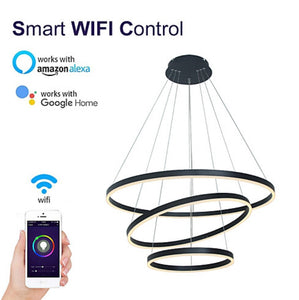 Wifi-smart/Dimmable 32*24*16inch 3-Lights Circular LED Pendant Light Chandelier Lighting Lamp Ambient Light 90-260V - heparts