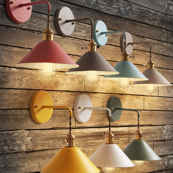 Colorful Vintage Country Cottage Wall Lamps Painted E26 E27 Bed Room Wall Sconces