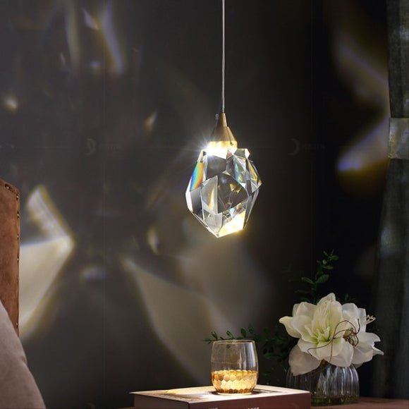Modern Pure Copper Crystal Dining Room Bedroom Pendant Light Luxury Nordic Lamps