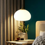 Modern Pure Copper Glass Ball Dining Room Bedroom Pendant Light Luxury Nordic Lamps