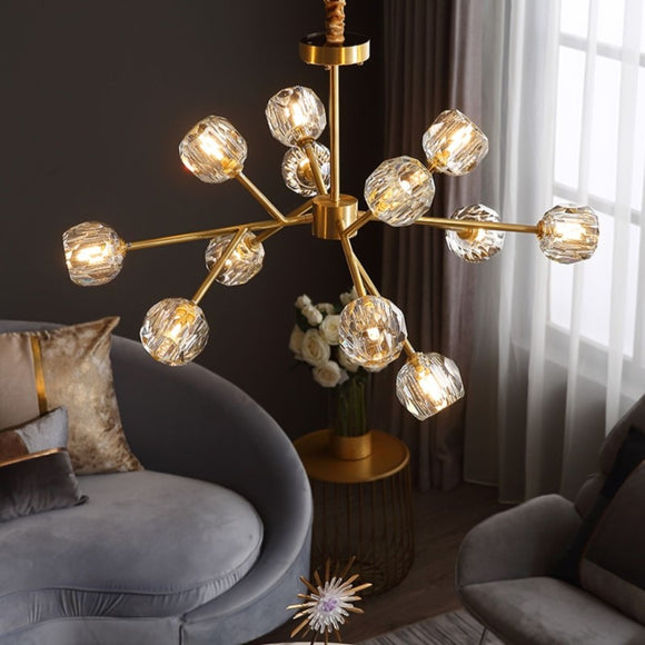 9/12/15/18 Solid Brass Crystal Lights Novelty Sputnik Chandelier Ambient Light Glass Creative Bulb Included G9