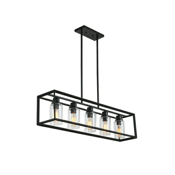 Farmhouse Chandeliers Rectangle Black 5 Light Dining Room Lighting Fixtures Hanging,