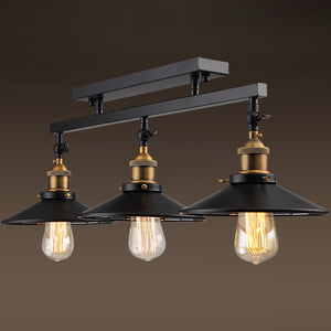 Industrial Vintage 3-Lights Semi Flush Mount Ceiling Light Lamp Fixture Island Chandelier Fixture